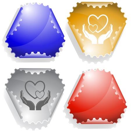 hamose: love in hands.   sticker. Stock Photo