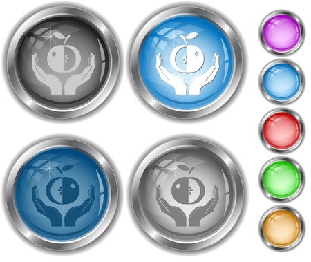 apple in hands. internet buttons. Stock Photo - 8736996