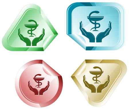 protection icon: health in hands. sticker. Stock Photo
