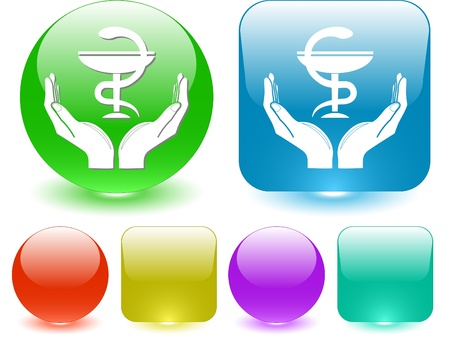 health in hands. interface element. photo
