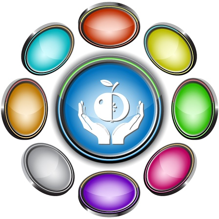 apple in hands. internet buttons. 8 different projections Stock Photo - 8737024