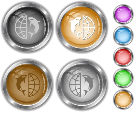 Globe and shamoo. internet buttons. photo