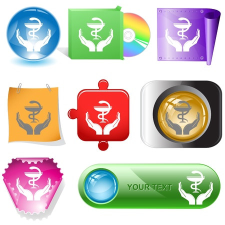 health in hands. internet buttons. Stock Photo - 8737879