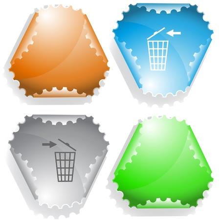 Recycling bin. sticker.