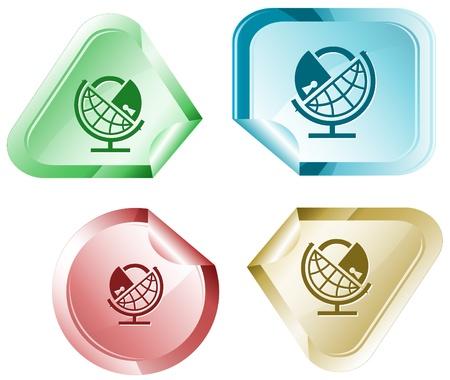 declinate: Globe and lock. sticker. Stock Photo