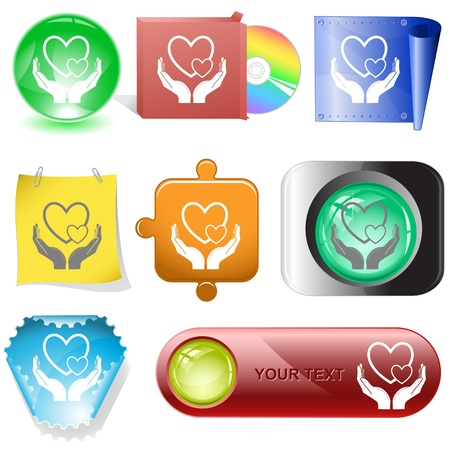 love in hands. Vector internet buttons. photo