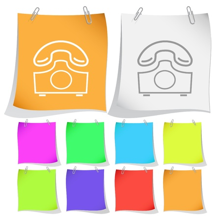Old phone. Vector note papers. Stock Photo - 8781151