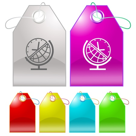 Globe and clock. Vector tags. Stock Photo - 8781155