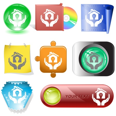 economy in hands. Vector internet buttons. Stock Photo - 8781183