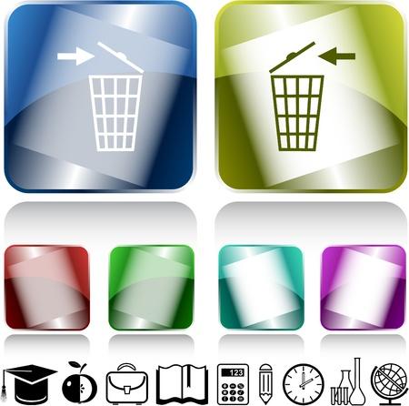 Recycling bin. Vector internet buttons. Stock Photo - 8781184