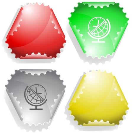 hamous: Globe and clock. Vector sticker.