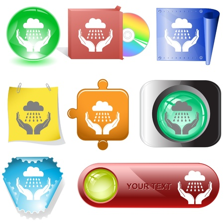weather in hands. Vector internet buttons. Stock Photo - 8828254