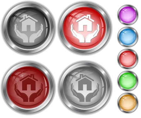 home in hands. Vector internet buttons. Stock Photo - 8828283