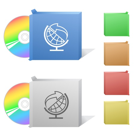 Globe and arrow. Box with compact disc. Stock Photo - 8828259
