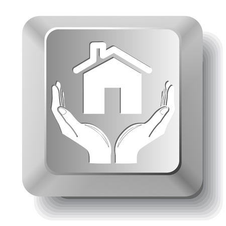 home in hands. Vector computer key. Stock Photo - 8919899