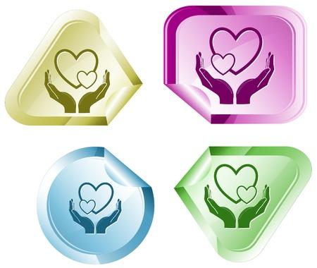 love in hands. Vector sticker. photo
