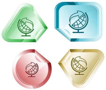 declinate: Globe and arrow. Vector sticker. Stock Photo