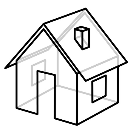 small house: House. Wire-frame model. Vector illustration. Stock Photo