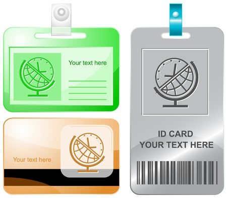 Globe and clock. Vector id cards. photo
