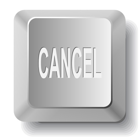 undoing: Cancel. Vector computer key.