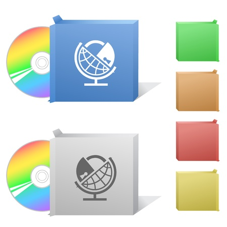 Globe and lock. Box with compact disc. Stock Photo - 8987218