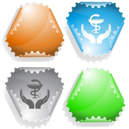 health in hands. Vector sticker. photo