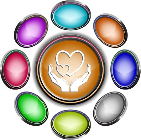 love in hands. Vector internet buttons. 8 different projections. Stock Photo - 9168513
