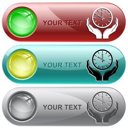 clock in hands. Vector internet buttons. Stock Photo - 9168526