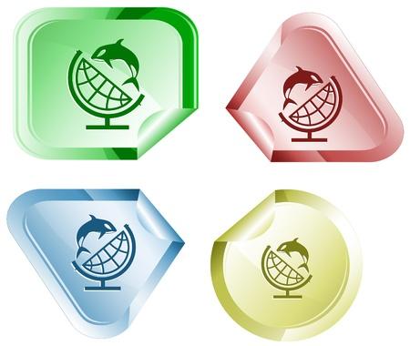 declinate: Globe and shamoo. Vector sticker.