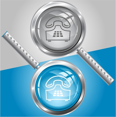pushbutton: Push-button telephone. Vector magnifying glass. Stock Photo