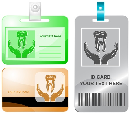 health in hands. Vector id cards. photo