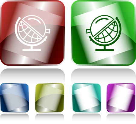 Globe and loupe. Vector internet buttons. photo