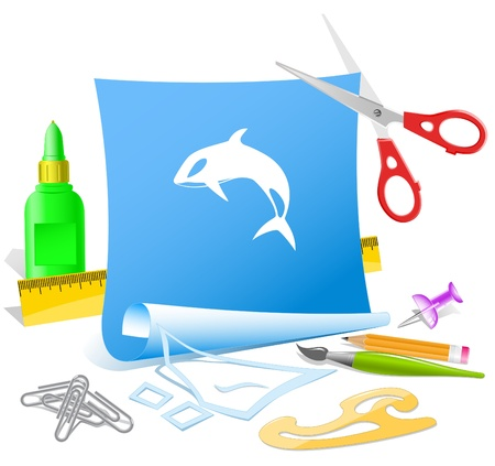 Killer whale. Vector paper template. Stock Photo - 9168533