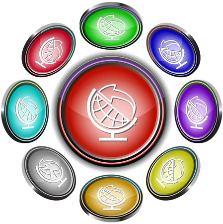 Globe and arrow. Vector internet buttons. Stock Photo - 9168535