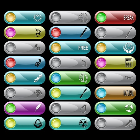 Vector set of internet buttons. 24 elements. photo
