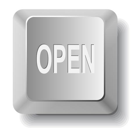 unrestricted: Open. Vector computer key.