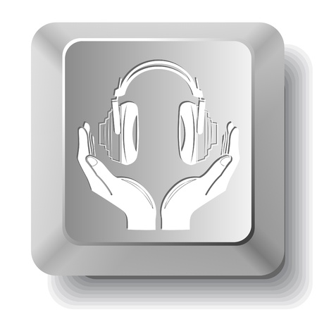 headphones in hands. Vector computer key. photo