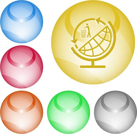 Globe and recycling symbol. Vector interface element. photo