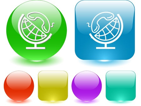 Globe and handset. Vector interface element. photo