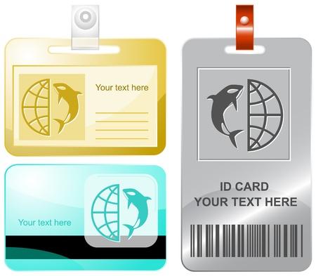 Globe and shamoo. Vector id cards. Stock Photo - 9211131