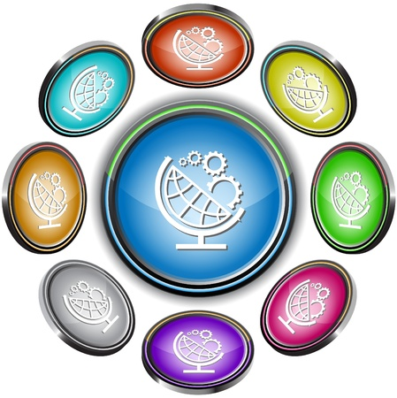 Globe and gears. Vector internet buttons. 8 different projections. Stock Photo - 9211159