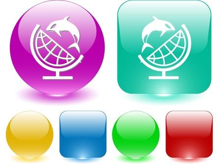 Globe and shamoo. Vector interface element. Stock Photo - 9211165