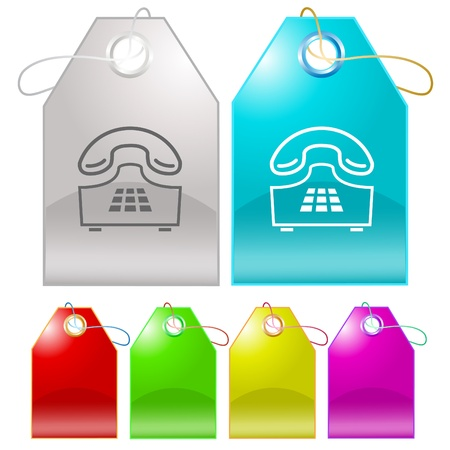 Push-button telephone. Vector tags. Stock Photo - 9211166