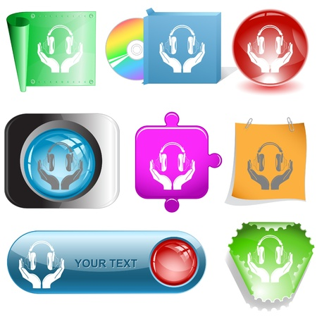 hearing protection: headphones in hands. Vector internet buttons. Stock Photo
