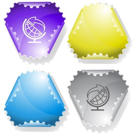 hamous: Globe and arrow. Vector sticker. Stock Photo