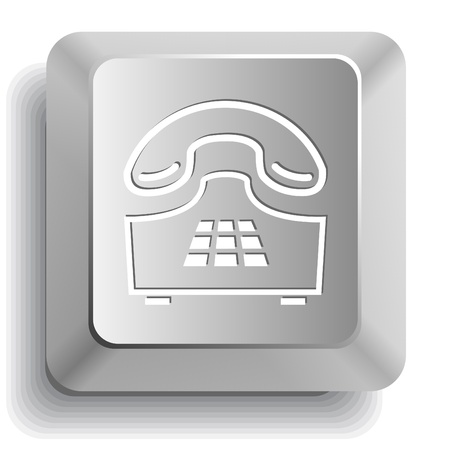 pushbutton: Push-button telephone. Vector computer key.