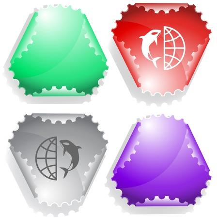 Globe and shamoo. Vector sticker. Stock Photo - 9271564