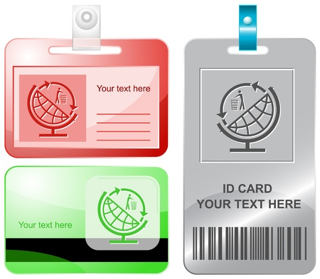 identity protection: Globe and recycling symbol. Vector id cards.