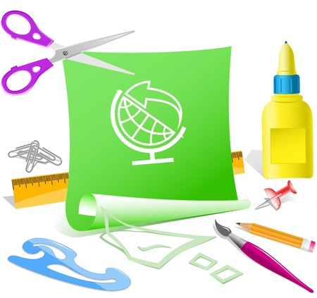 Globe and arrow. Vector paper template. Stock Photo - 9271557