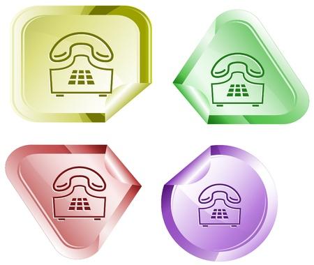 Push-button telephone. Vector sticker. Stock Photo - 9271599